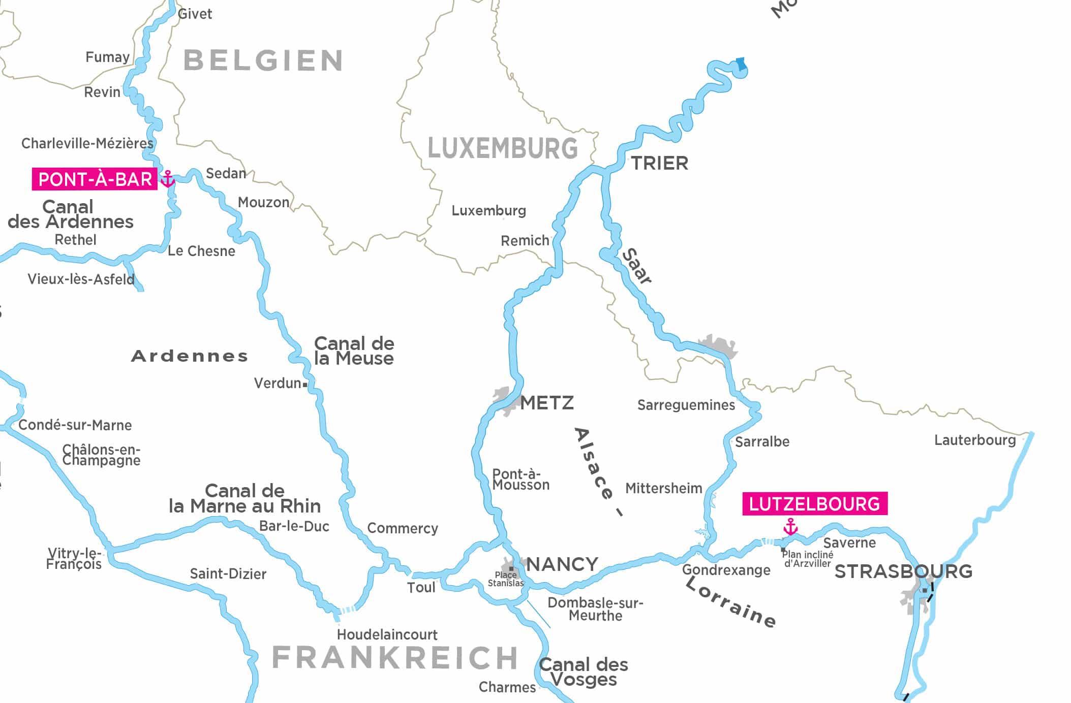Elsass Karte Frankreich.Hausboot Mieten In Elsass Und Ardennen Ohne Fuhrerschein