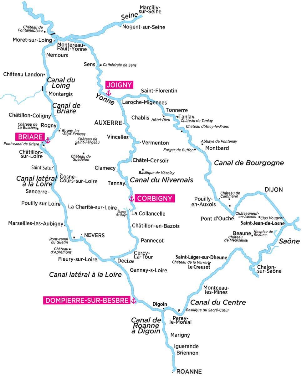 Canal de Bourgogne Karte