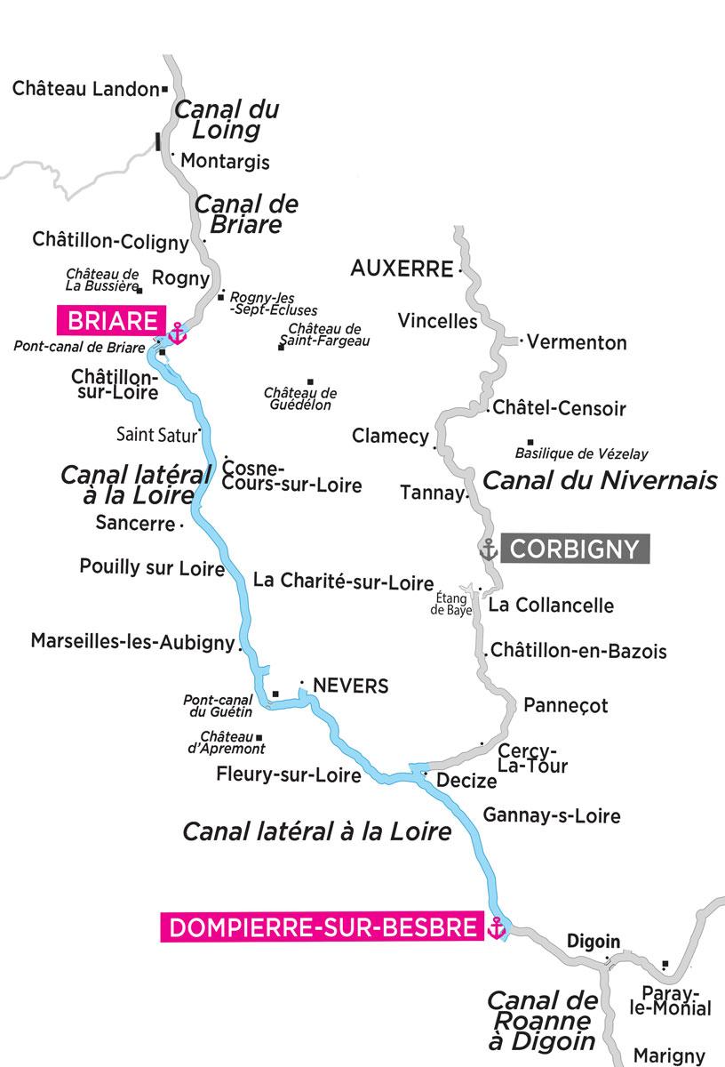 canal de briare carte The Canal de Briare & Canal Latéral à la Loire by boat   Locaboat