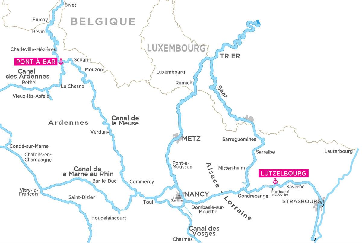 Carte Fluviale Canal de la Marne au Rhin