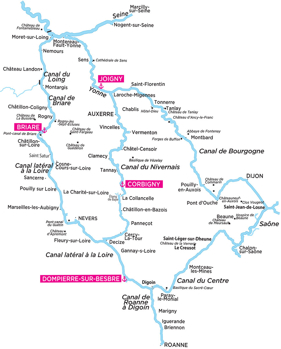 canal de bourgogne carte Cruises on the french Burgundy canal system   Locaboat