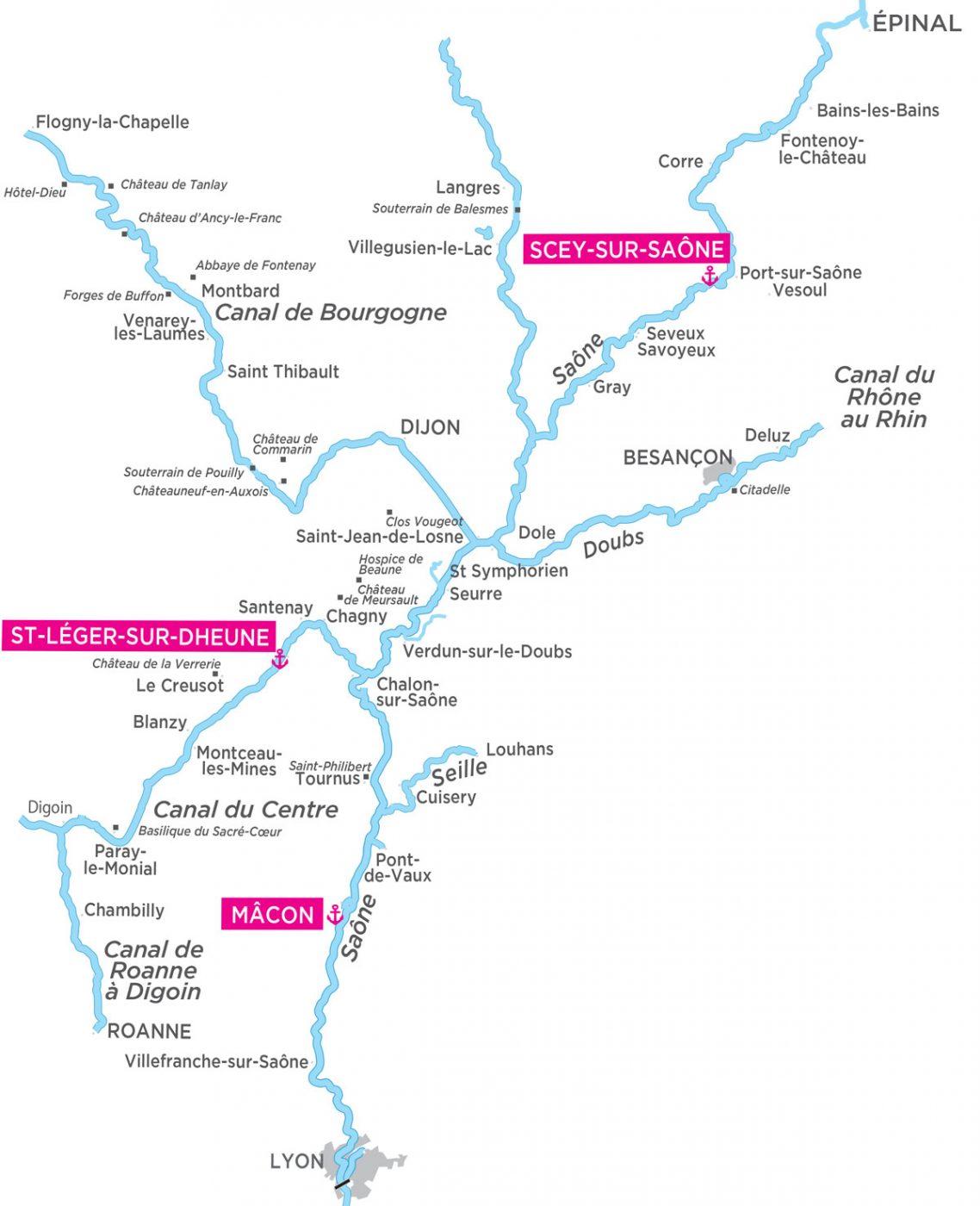 carte fluviale canal du centre
